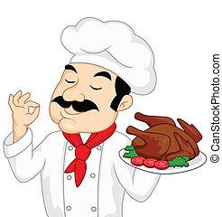 turquie, chef cuistot, poulet, ou, rôti