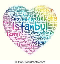 turquie, coeur, mot, liste, villes, nuage