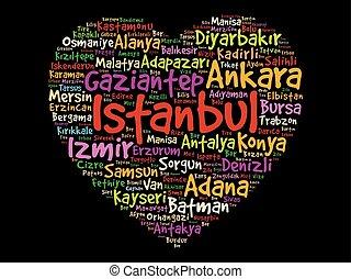 turquie, coeur, villes, liste