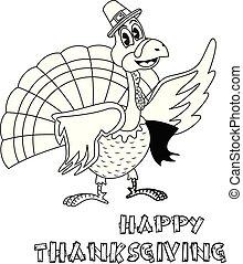 turquie, coloration, pèlerin, thanksgiving, dessin animé, livre, chapeau, page