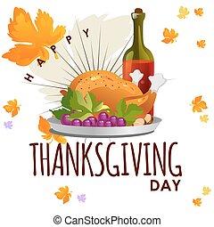 turquie, concept, légumes, nourriture, sauced, ou, thanksgiving, isolé, automne, grillé, jaune, fond, rôti, orange, poulet, leaves., entier, blanc, jour, vin