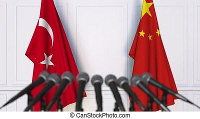 turquie, conférence, drapeaux, international, presse, porcelaine, réunion, ou, négociations