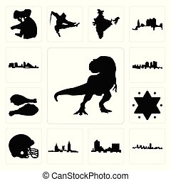 turquie, contour, ensemble, étoile, icônes, rex, casque, football, alabama, david, t, haïti, montana, wisconsin, noir maryland, jambe
