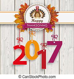 turquie, emblème, thanksgiving, bois, feuillage, 2017