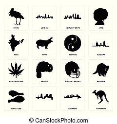 turquie, ensemble, jambe, arkansas, feuille, football, yang, marijuana, kentucky, état, cigogne, inde, kangourou, yin, icônes, casque
