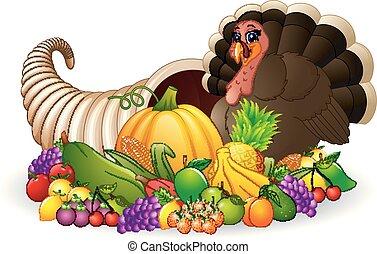 turquie, entiers, corne abondance, légumes, thanksgiving, corne, fruit, abondance, dessin animé, oiseau