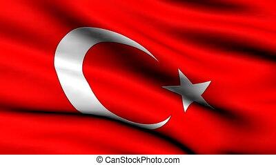 turquie, faire boucle, drapeau, fond