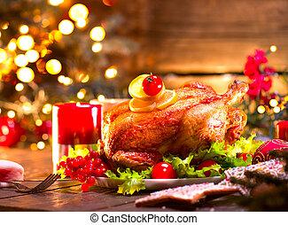 turquie, famille, dîner., table, décoré, vacances, noël