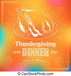 turquie, feuille, thanksgiving, érable, invitation, carte, heureux