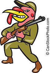 turquie, fusil chasse, chasseur, fusil, porter, dessin animé