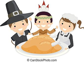 turquie, gosses, stickman, pèlerin, thanksgiving
