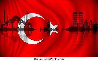 turquie, horizon, drapeau, istanbul
