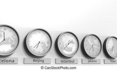 turquie, horloge, projection, dans, istanbul, animation, temps, conceptuel, mondiale, rond, zones., 3d