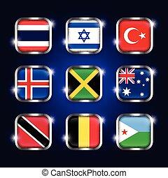 turquie, jamaïque, israël, ensemble, scintillement, ), (, thaïlande, tobago, quadrangulaire, boutons, verre, djibouti, australie, drapeaux, islande, belgique, mondiale, frontière, acier, trinidad