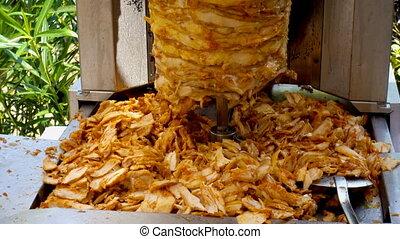 turquie, machine, viande, extérieur, grillade, poulets, tourner, après-midi, shawarma, épices