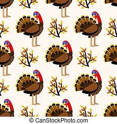 turquie, mignon, modèle, seamless, automne, oiseaux