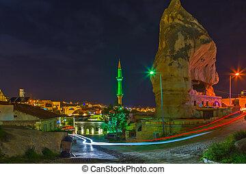 turquie, montagne, hôtel, goreme, nuit, cappadocia, paysage