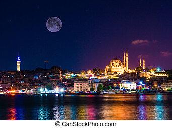 turquie, mosquée, istanbul, nuit