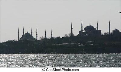 turquie, mosquées, deux, mer, istanbul