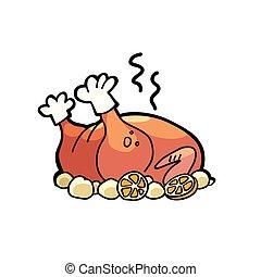 turquie, oie, volaille, poulet, cuit, ou