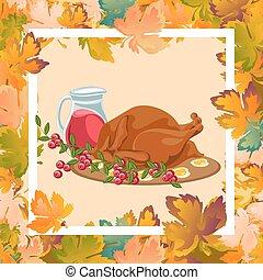 turquie, ou, concept, légumes, nourriture, sauced, thanksgiving, leaves., isolé, automne, grillé, jaune, fond, rôti, orange, poulet, entier, jour, vin