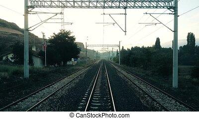 turquie, passager, scène, eskisehir, fenêtre, train, par, rural