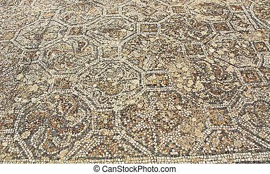 turquie, plancher, mosaïque, curetes, carreau, long, ephesus, route