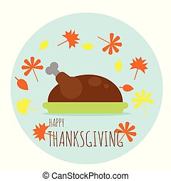 turquie, plaque, feuilles, thanksgiving, automne, baissé, heureux