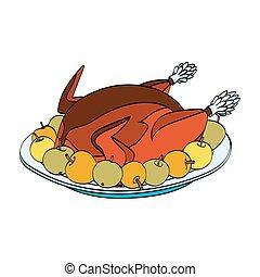 turquie, plaque, pommes, rôti, noël
