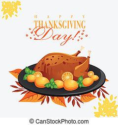 turquie, plaque, thanksgiving, noir, poulet, jour, heureux