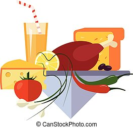 turquie, plat, style, poulet, cuit
