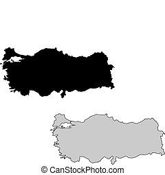turquie, projection., map., noir, white., mercator