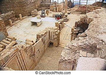 turquie, résidentiel, intérieur, archéologique, maison, ephesus, ruines