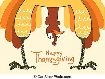 turquie, rigolote, couleur, symbole, thanksgiving, illustration, day., vecteur, heureux