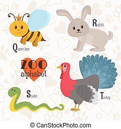 turquie, rigolote, zoo, alphabet, reine abeilles, letters., t s, r, serpent, lapin, q, animals.