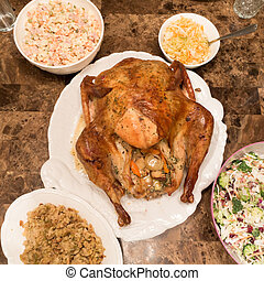 turquie, table, dîner, salades, thanksgiving