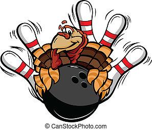 turquie, thanksgiving, illustration, vecteur, bowling, vacances, dessin animé