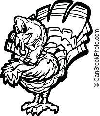 turquie, thanksgiving, illustration, vecteur, vacances, dessin animé, heureux