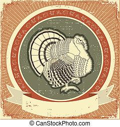 turquie, vieux, label.vector, thanksgiving, illustration, papier, texture, vacances