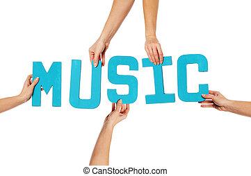 Turquoise alphabet lettering spelling MUSIC - Turquoise blue...