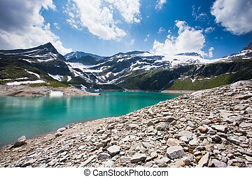 Turquoise alpine lake in the Alps Weissee