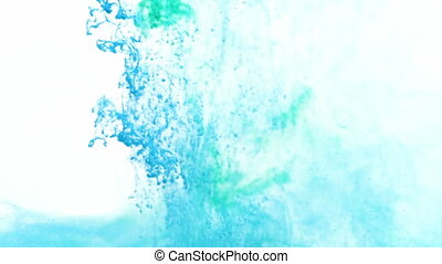 Turquoise and Blue Ink in Water