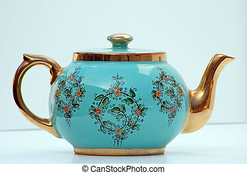 Turquoise and Gold Antique Teapot - This turquoise and gold...