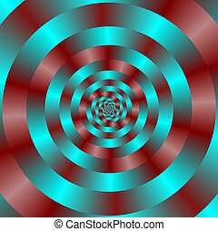 Turquoise and Red Spiral - Computer generated fractal image...