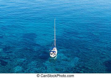 turquoise, angle, voilier, élevé, vue mer