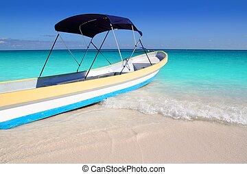turquoise, antilles, exotique, mer, plage, bateau