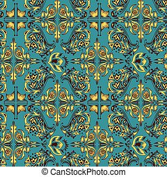 Turquoise Arabic pattern - Seamless vector background with ...