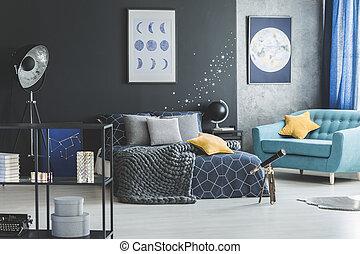 Turquoise armchair in bedroom interior