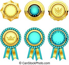 Turquoise award rosettes and gold heraldic medals