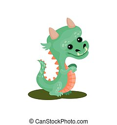 Turquoise baby dragon with funny muzzle. Cute fairytale animal with small horns and long tail. Flat vector icon